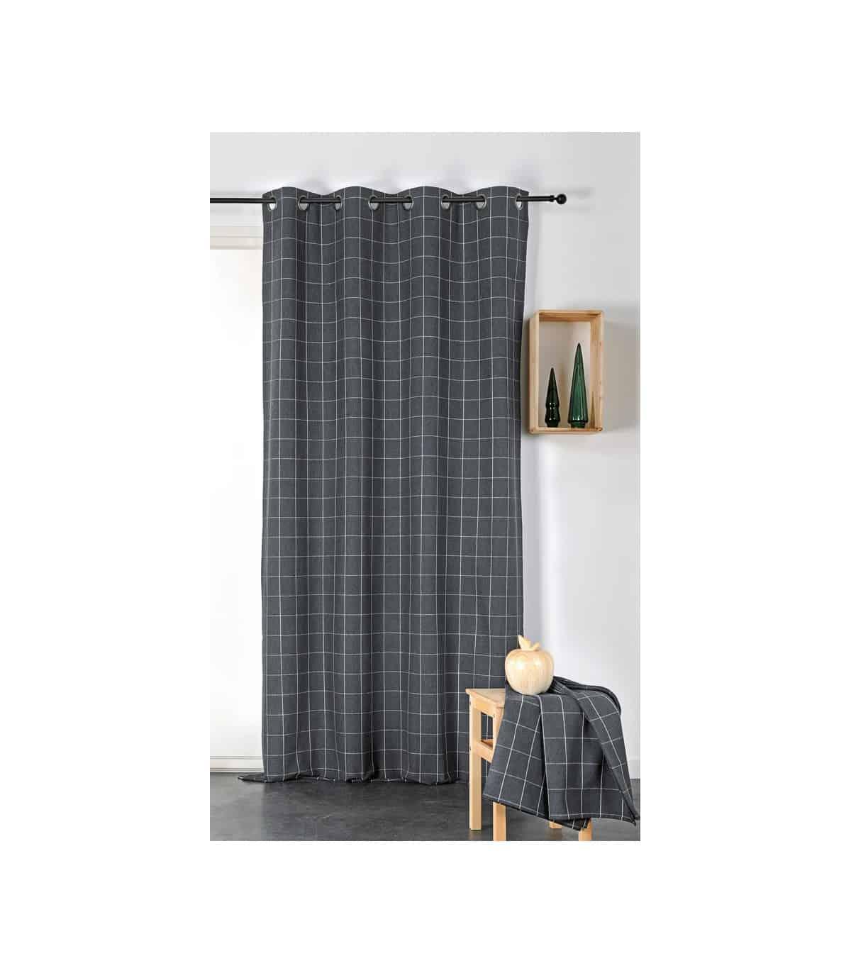 rideau noir a carreaux en fils recycles