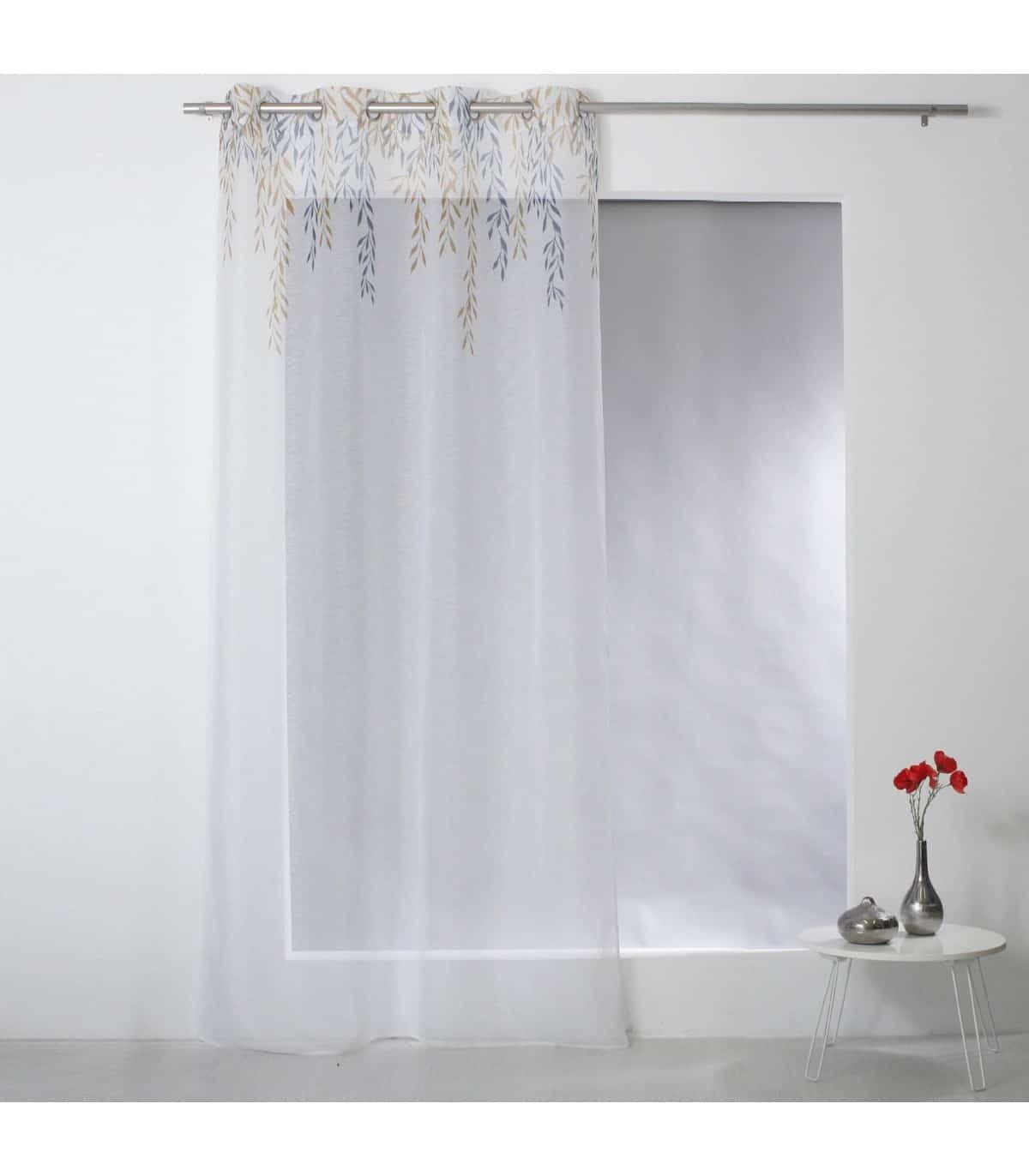 voilage blanc motif feuille stylise moderne