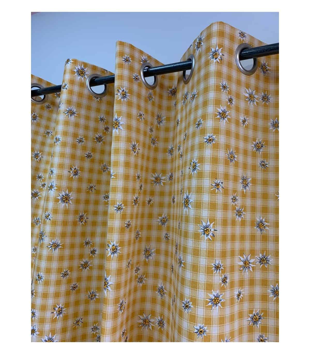 rideau montagne jaune a carreaux edelweiss