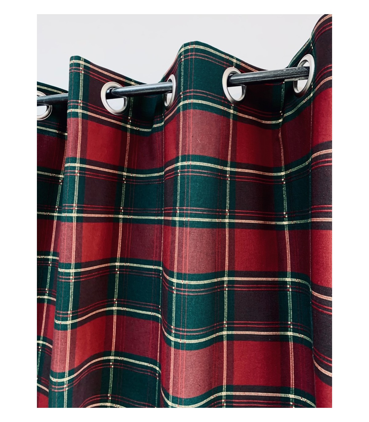 rideau ecossais bordeaux et vert