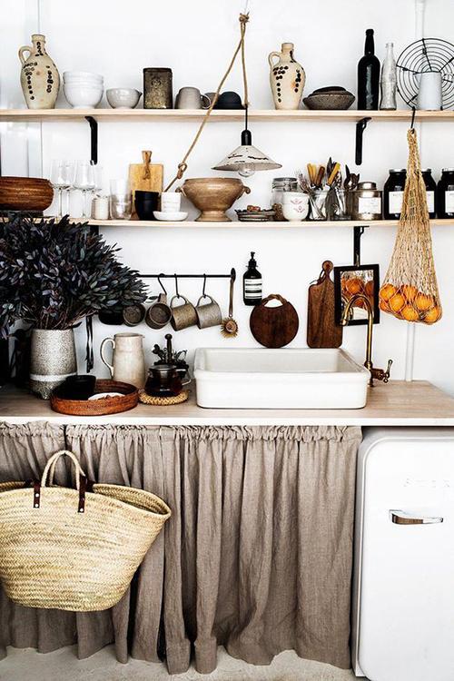 cuisine avec des rideaux