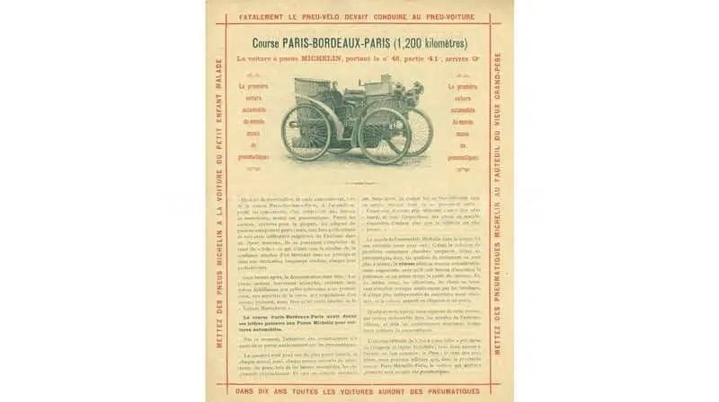 évolution bibendum Michelin 1895 Course Paris Bordeaux