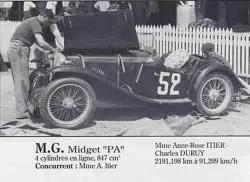 1934 MG PA Midget 17ème au 24 heures du Mans 162 tours Charles Dury et Anne-Cécile Rose Itier