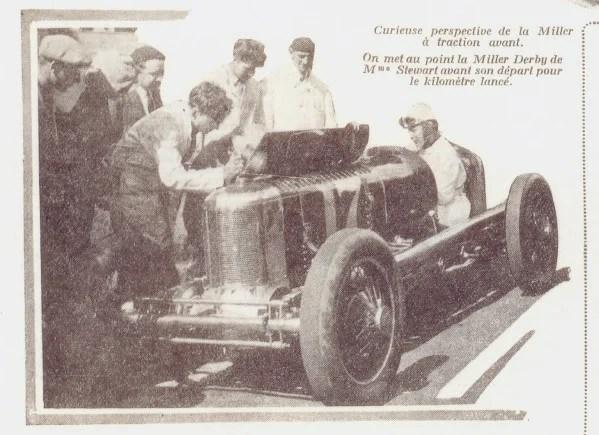 Miller à traction avant, mise au point de la Miller Derby traction avant de Stewart avant son départ pour le km lancé