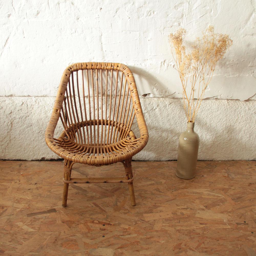 fauteuil rotin enfant vintage atelier