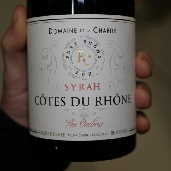 étiquette recto bouteille de vin rouge côte du rhône Les Ombres