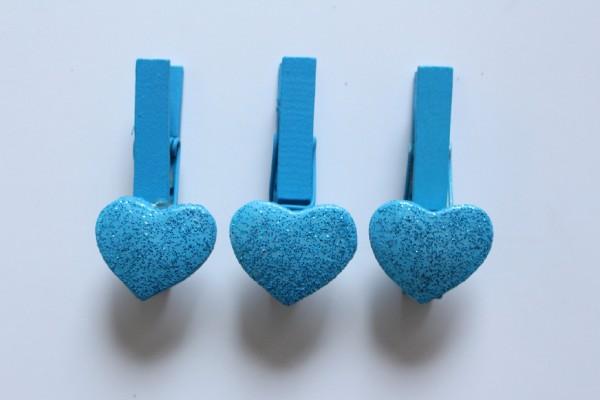 Les coeurs pailletés bleus