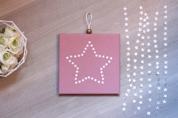 Cadre lumineux étoile d'étoiles rose poudré