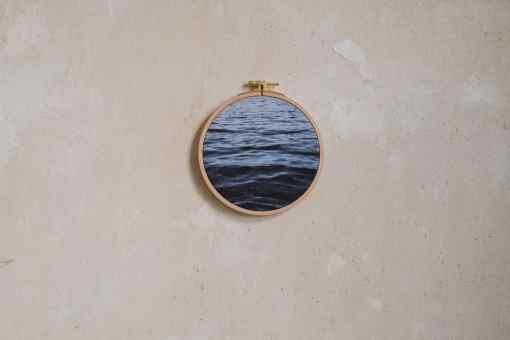 Stoffdruck im Stickrahmen von Nicole Siemers für das atelier.91, Das Meer