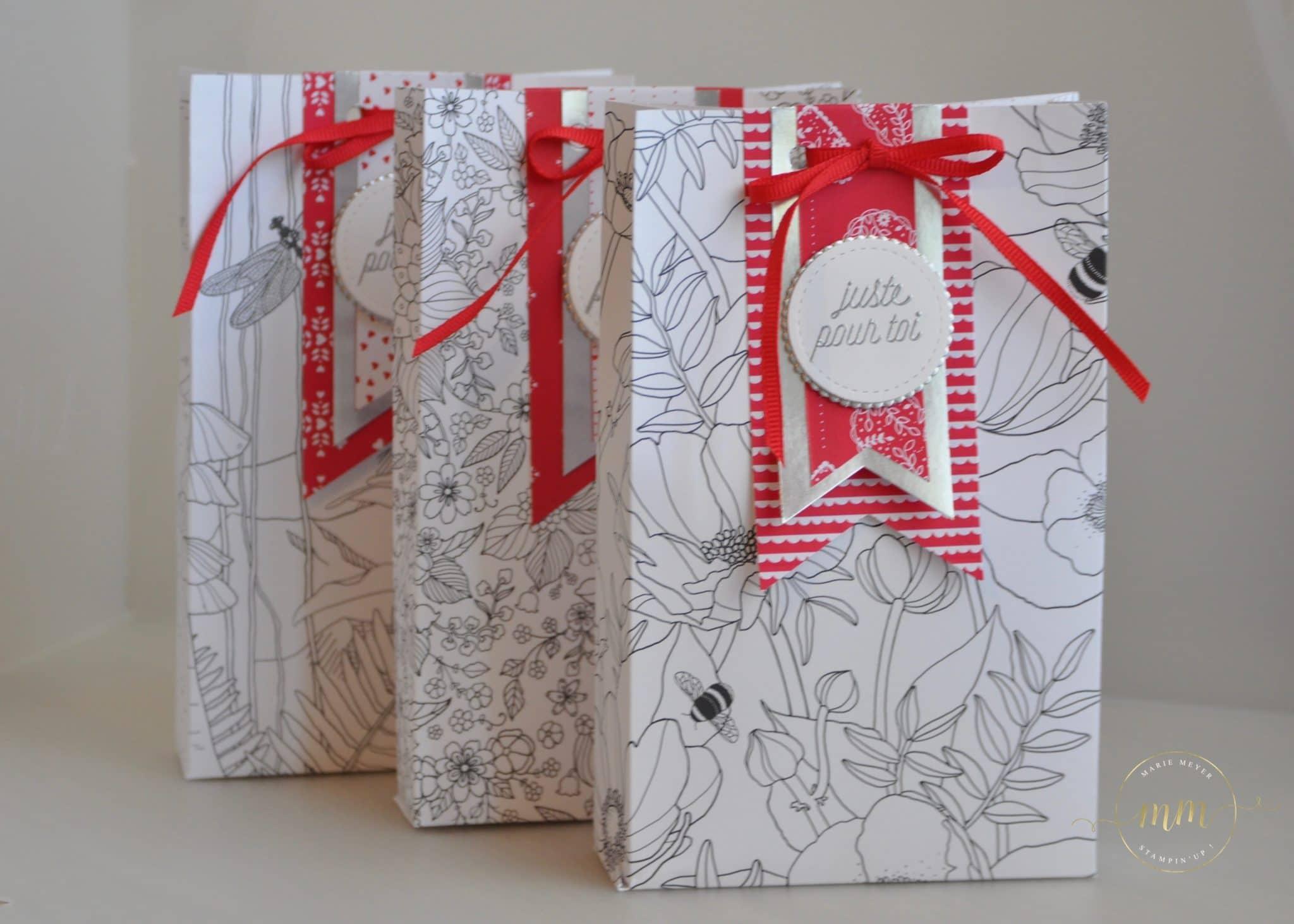 Boites cadeaux Papier Design Coloriez-moi, planche insta pochette par Marie Meyer par Marie Meyer Stampin up - http://ateliers-scrapbooking.fr/ - Inside The Lines Designer Series Paper _ Designerpapier Kreativ Koloriert
