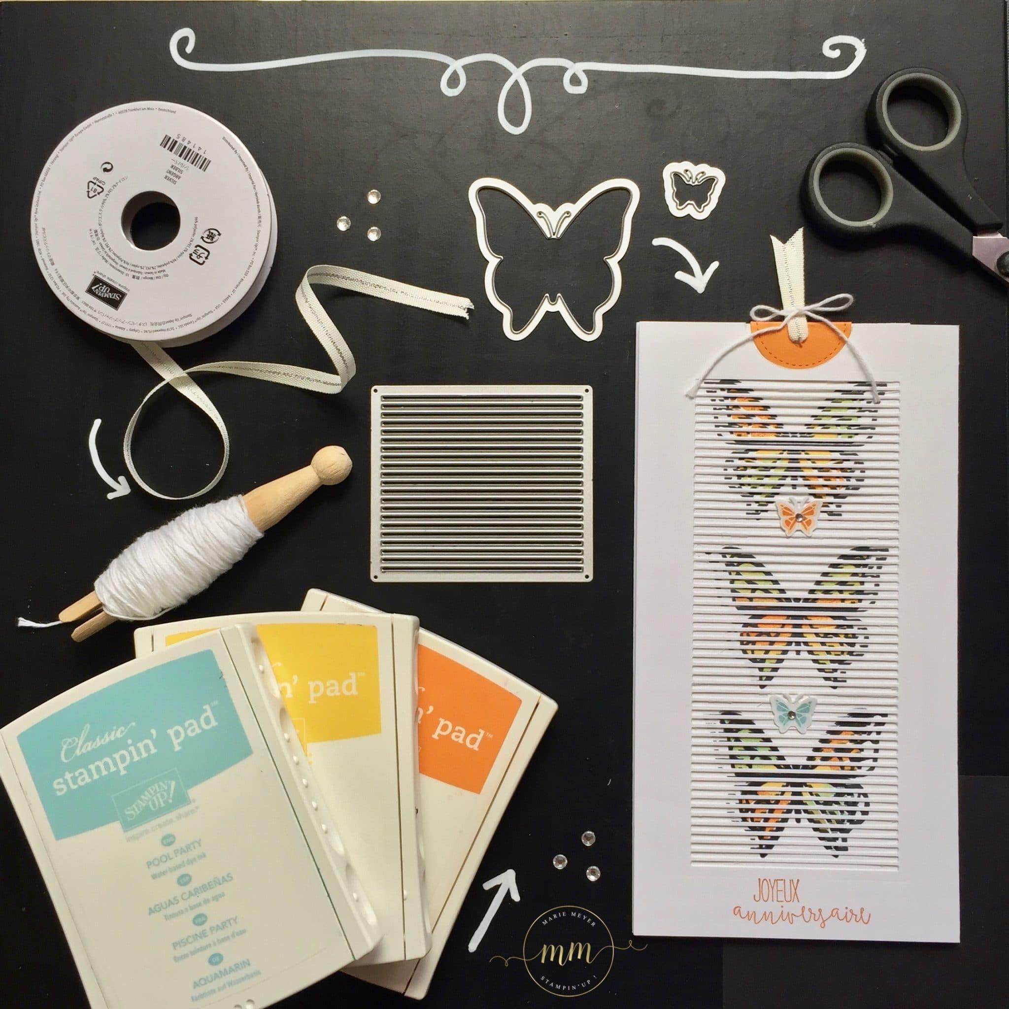 Carte d'anniversaire interactive Thinlits en mouvement et set de tampon You Move Me par Marie Meyer Stampin up - http://ateliers-scrapbooking.fr/ - Interactive card Move Me Thinlits - Interaktive Karte Thinlits Flatterhaft