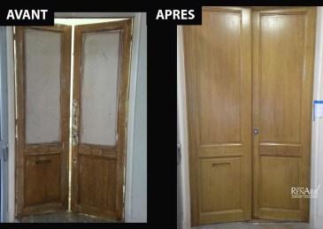Décor peint sur porte palière - Trompe-l'œil faux chêne - Ateliers Renard