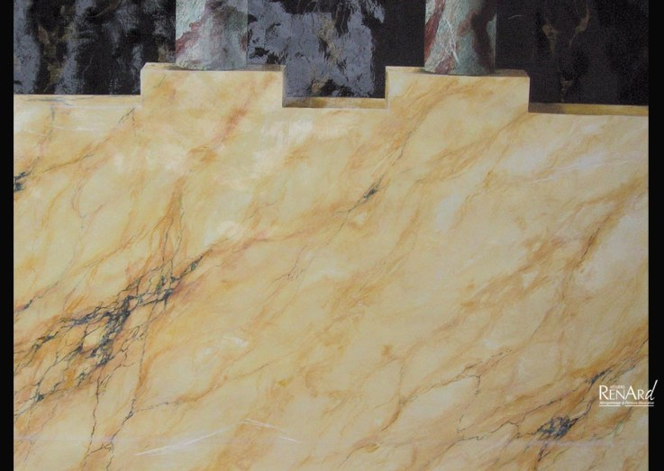 Décor mural peint - Trompe-l'œil faux marbre - Ateliers Renard