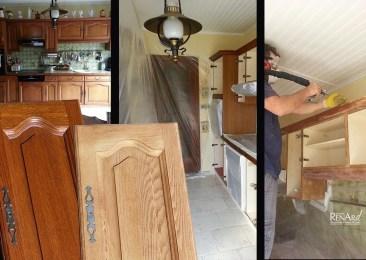 Décapage des meubles de cuisine, avant relooking - Ateliers Renard