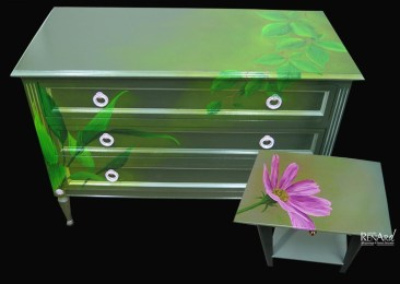 Décors peints « feuilles et fleur » - Ateliers Renard