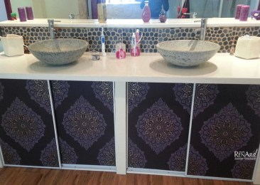 Béton blanc - Meuble vasques de salle de bains - Ateliers Renard