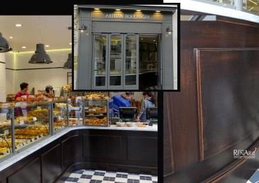 Comptoir de boulangerie, patine caramel-chocolat - Ateliers Renard