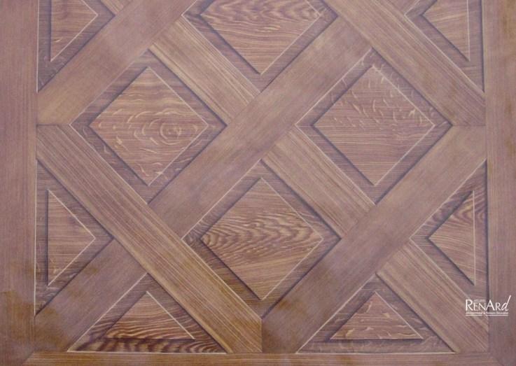 Décor peint sur sol - Trompe-l'œil faux bois imitation chêne - Ateliers Renard
