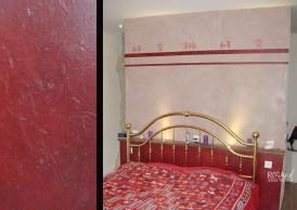 Mur tadelakt, pochoirs peints et effet faux cuir texturé - Ateliers Renard