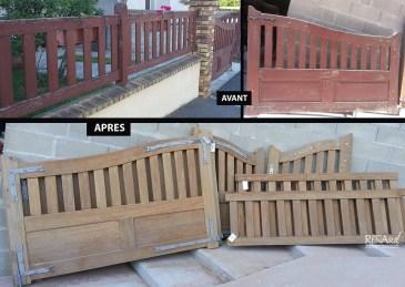 décapage portail bois