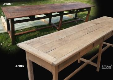 Table en chêne décirée