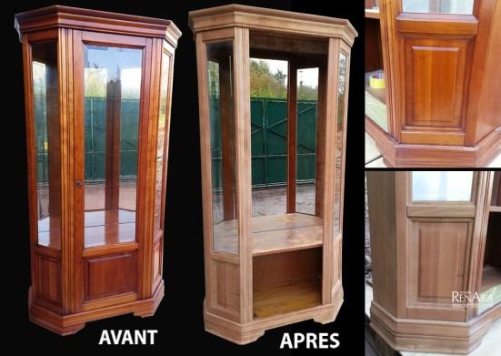 décaper aérogommage meuble vitré bois