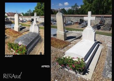 entretien par aérogommage pierre tombale cimetière