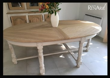table en chêne patine et bois naturel