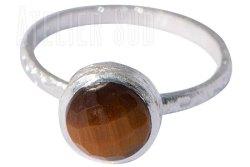 Handgemaakte mat Sterling zilveren ring met een Tijgeroog edelsteen