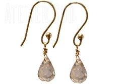 Handgemaakte goud op Sterling zilveren oorbellen met facet geslepen Citrien edelstenen