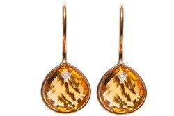Poppy Citrien Kwarts handgemaakte oorbellen met edelstenen