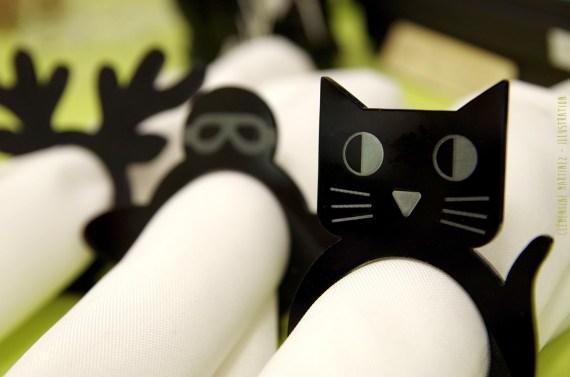 Rond de serviette chat en plexiglas noir