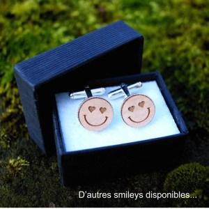 Boutons de manchette smiley coeur bois et argent