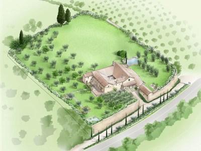 convento in Toscana bozzetto_prospettico_generale