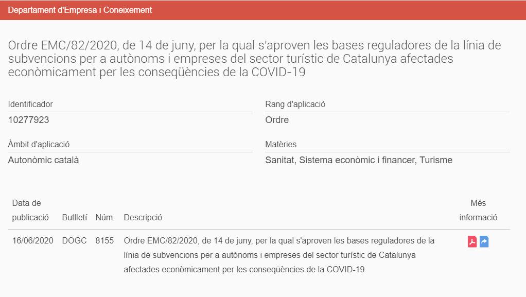 Bases reguladores de la línia de subvencions per a autònoms i empreses