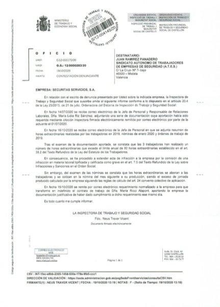 RESOLUCIÓN INSPECCIÓN DE TRABAJO