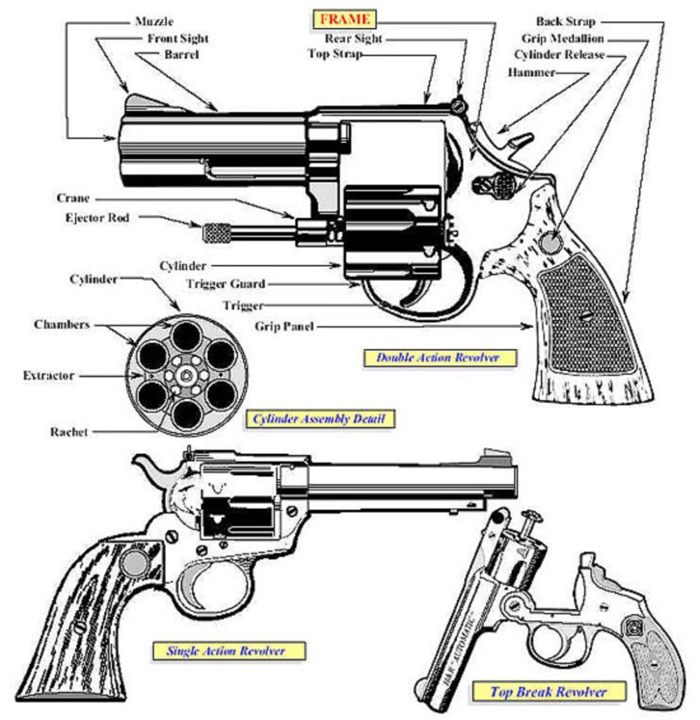 medium resolution of image large of an illustration showing the primary characteristics exhibited in the revolver category