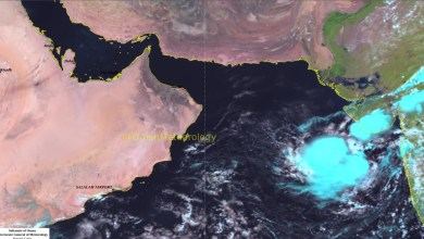 صورة الأرصاد العمانية: رصد حالة في بحر العرب
