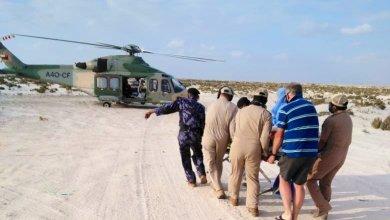 صورة إصابة أجنبي في بر الحكمان ونقله إلى خولة
