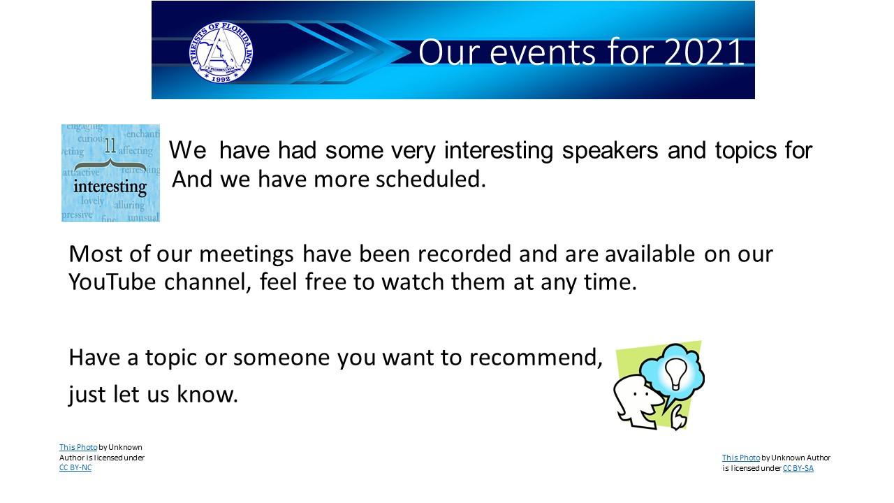 slide details the events for 2021