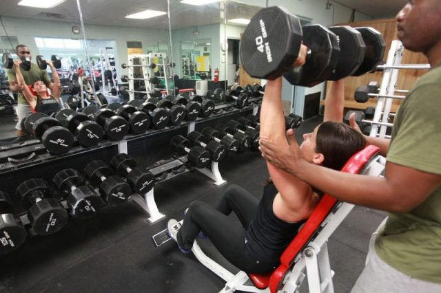 Gym Lifting Weights Young Female Fitness Power