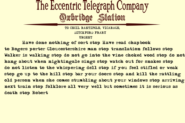 Oxbridge Telegram Re Chapbook