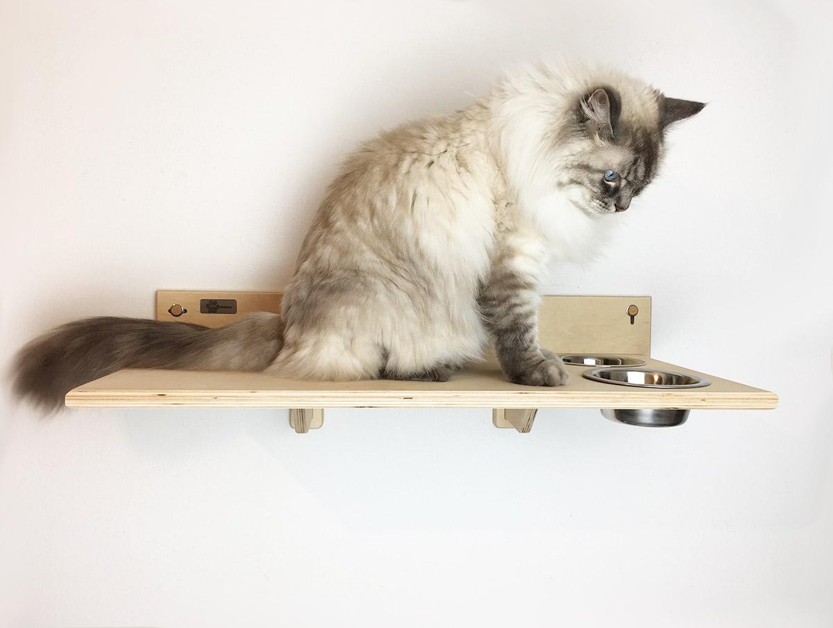 Mensola con ciotole per gatti artigianale e made in italy for Mensole per gatti ikea