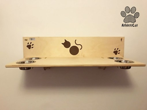 Wooden cat shelf with bowls