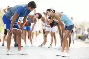 Exhausted marathon runners,