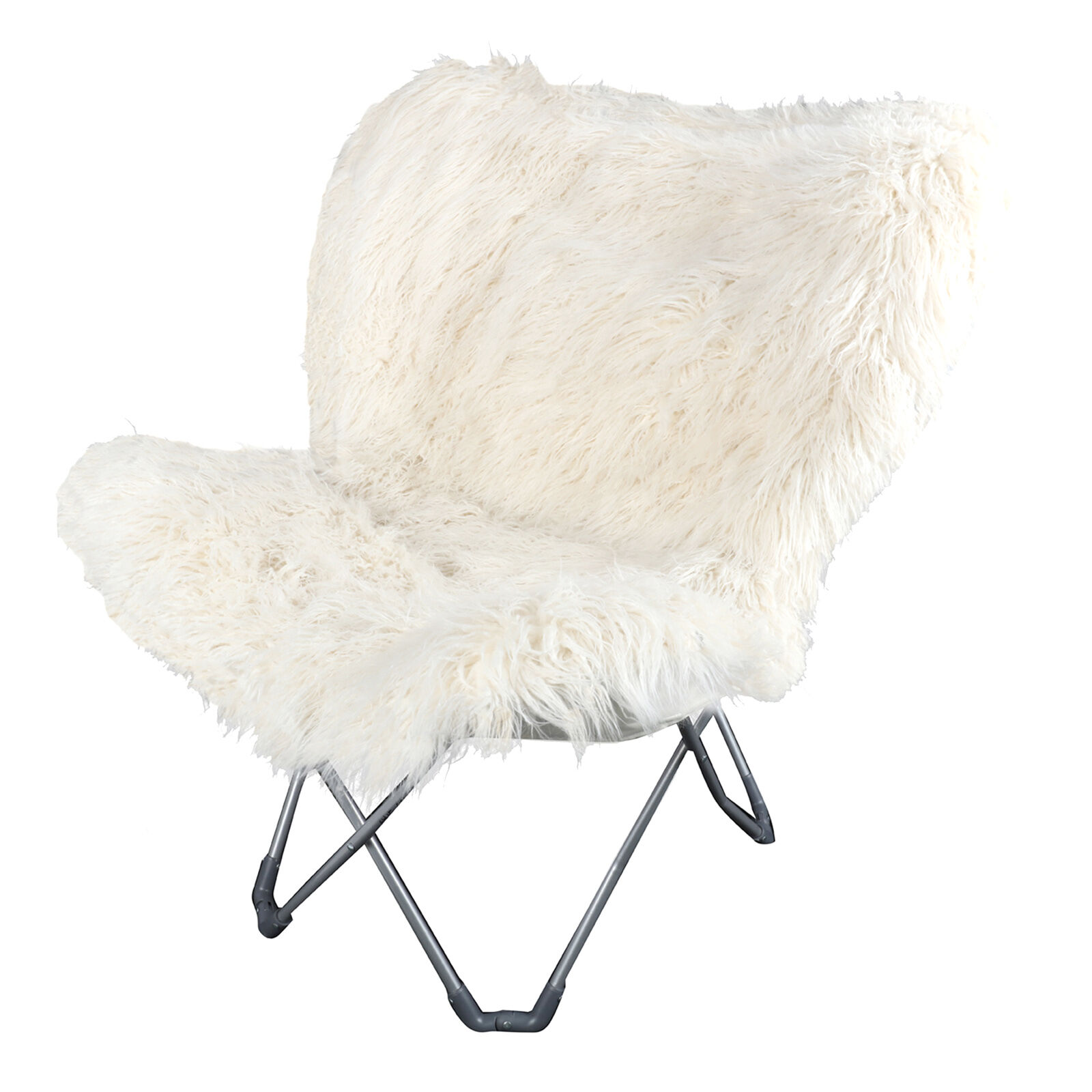 adult saucer chair hanging lounger white fur butterfly | at home