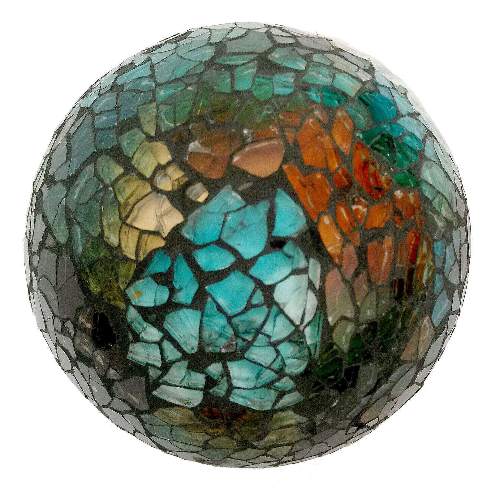 Brown Mosaic Sphere Decorative Orb  At Home