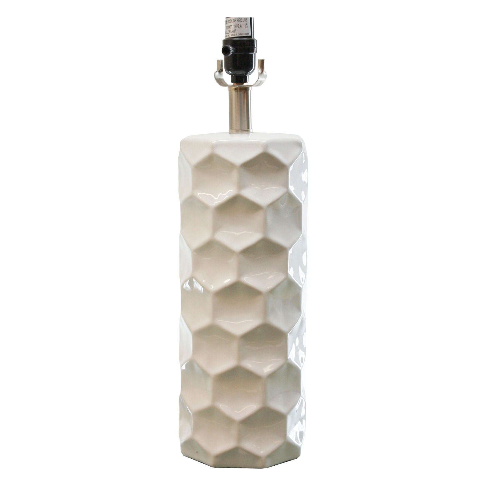 White Honeycomb Table Lamp Base 21in  At Home
