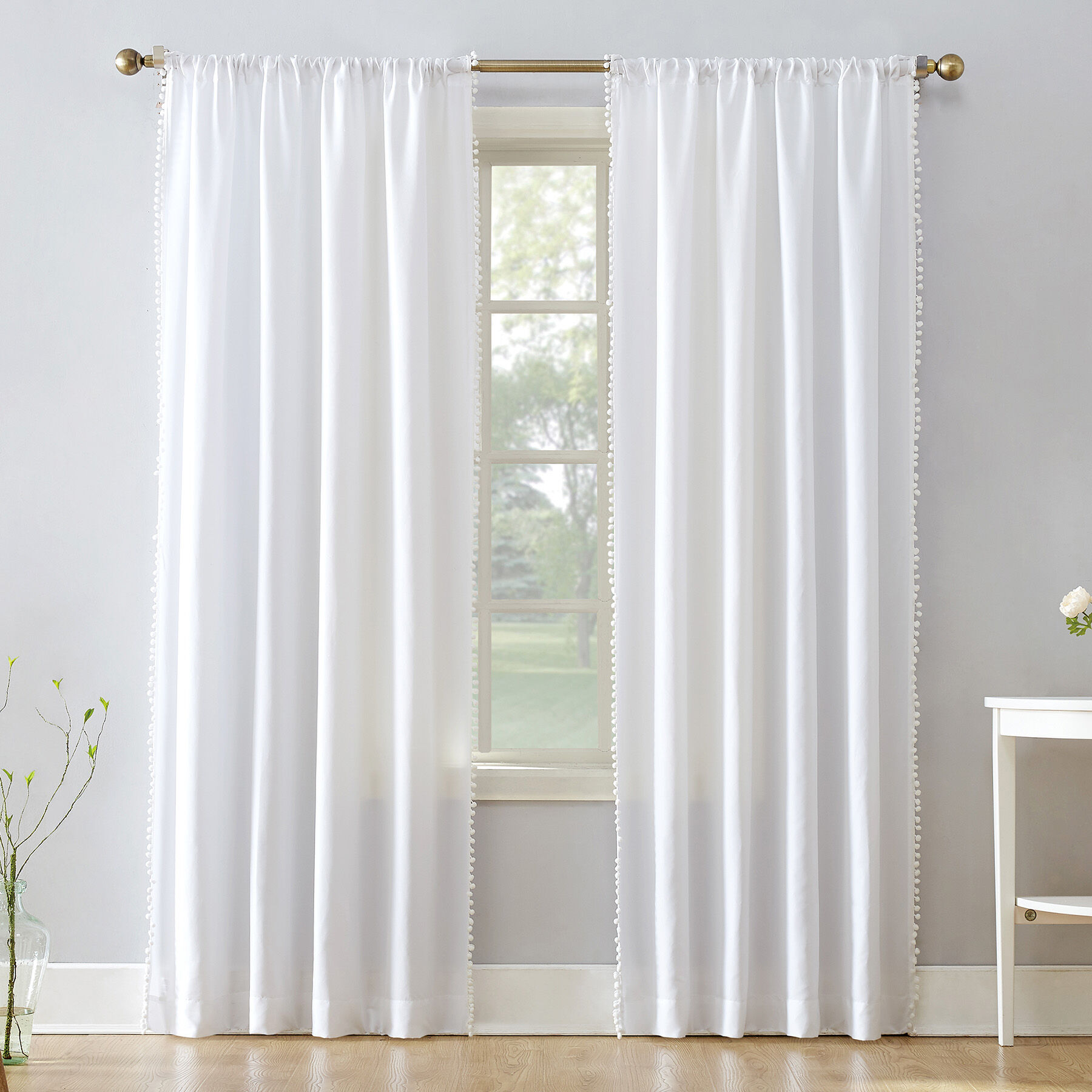 Gigi Rod Pocket White Curtains  At Home
