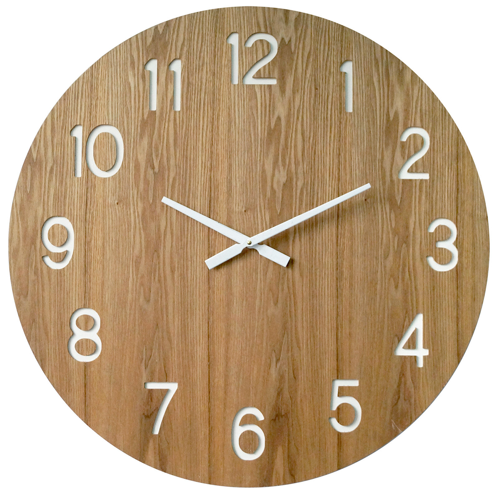 Wood Clock with Laser Cut Numbers 28in At Home
